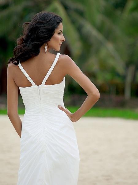 A-Line Wedding Dresses V Neck Asymmetrical Chiffon Spaghetti Strap Formal Casual Backless_3