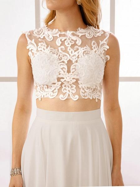 Princess Two Piece Wedding Dresses Jewel Neck Floor Length Chiffon Sleeveless See-Through Beautiful Back Crop Top_8
