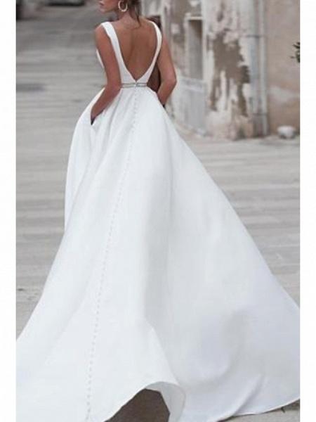 A-Line Wedding Dresses V Neck Sweep \ Brush Train Satin Regular Straps_2