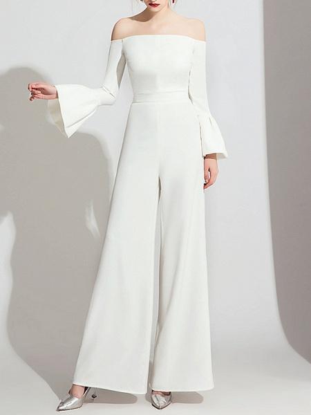Jumpsuits Wedding Dresses Off Shoulder Floor Length Polyester Long Sleeve Formal Simple_1