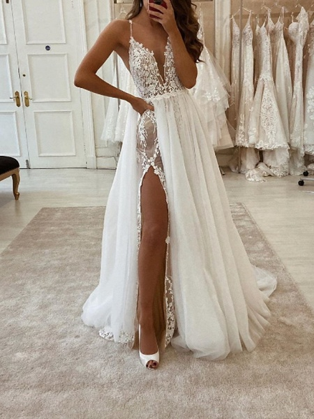 Two Piece A-Line Wedding Dresses V Neck Spaghetti Strap Sweep \ Brush Train Tulle Polyester Sleeveless Country Plus Size_1