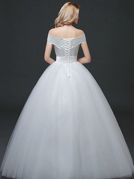 Ball Gown Wedding Dresses Off Shoulder Floor Length Lace Tulle Polyester Cap Sleeve Formal_3