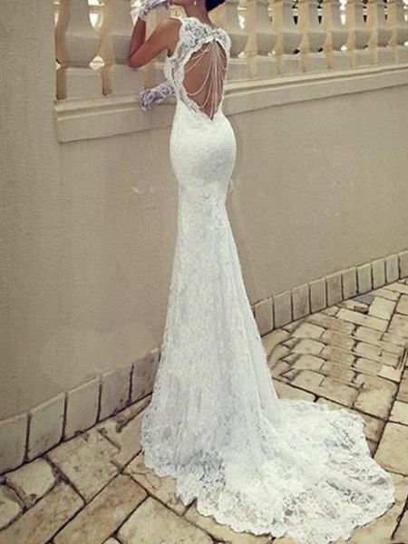 Mermaid \ Trumpet Wedding Dresses Scoop Neck Sweep \ Brush Train Lace Taffeta Chiffon Over Satin Sleeveless Sexy Plus Size_1