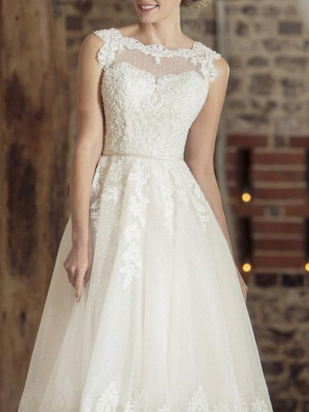 A-Line Wedding Dresses Jewel Neck Tea Length Lace Tulle Sleeveless Vintage Sexy Wedding Dress in Color Backless_2