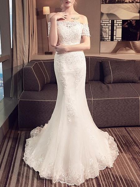 Mermaid \ Trumpet Wedding Dresses Off Shoulder Sweep \ Brush Train Lace Short Sleeve Beach_1