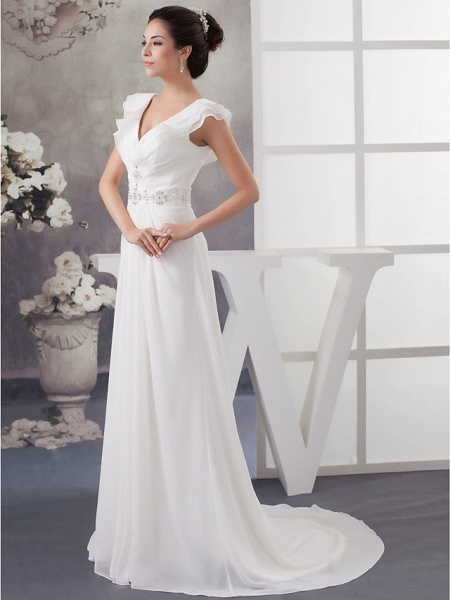 A-Line V Neck Court Train Chiffon Satin Spaghetti Strap Wedding Dresses_2