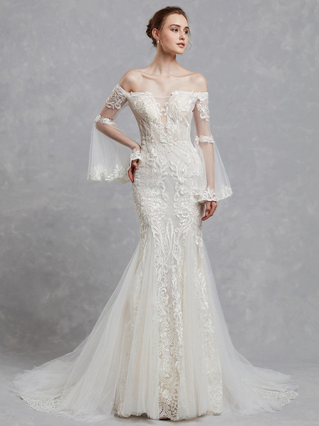 Mermaid \ Trumpet Off Shoulder Court Train Lace Tulle Long Sleeve Romantic Boho See-Through Backless Illusion Sleeve Wedding Dresses_4