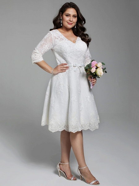 A-Line Wedding Dresses V Neck Knee Length All Over Lace 3\4 Length Sleeve Casual Vintage See-Through Illusion Detail Backless_3