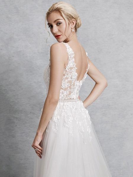 A-Line Wedding Dresses V Neck Court Train Lace Satin Tulle Regular Straps Romantic Illusion Detail Backless_6