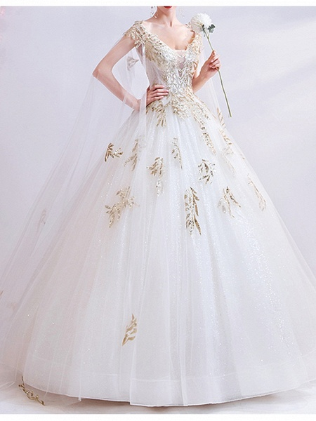 Ball Gown Wedding Dresses V Neck Court Train Chiffon Tulle Cap Sleeve Formal Illusion Detail Plus Size_2
