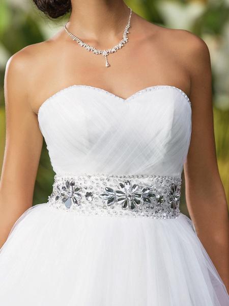 Ball Gown Wedding Dresses Sweetheart Neckline Floor Length Tulle Sleeveless Open Back_7