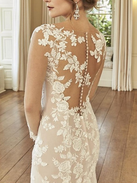 Mermaid \ Trumpet Wedding Dresses Jewel Neck Court Train Lace Long Sleeve Romantic See-Through Illusion Sleeve_2