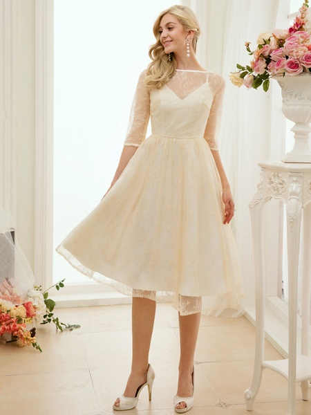 A-Line Wedding Dresses Bateau Neck Knee Length Lace Charmeuse 3\4 Length Sleeve See-Through_10