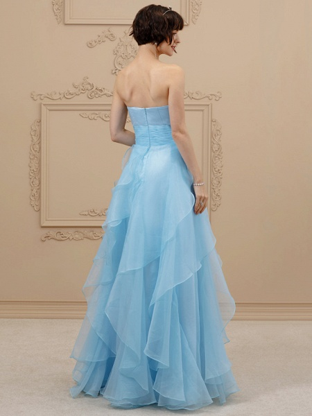 A-Line Wedding Dresses Sweetheart Neckline Floor Length Organza Satin Strapless Simple Plus Size Backless_2