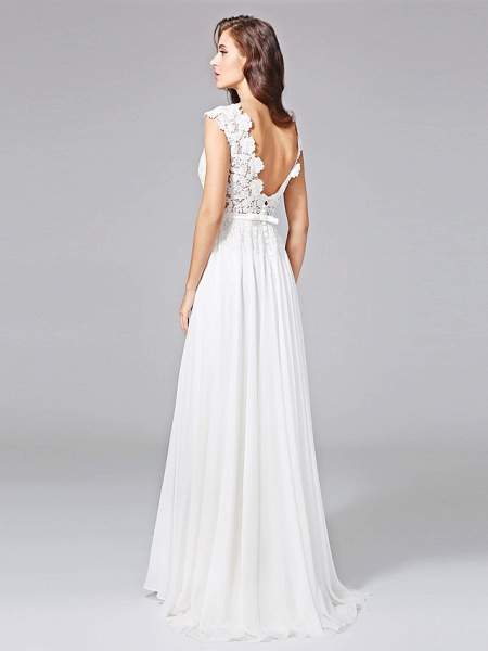 Sheath \ Column Wedding Dresses Bateau Neck Sweep \ Brush Train Chiffon Floral Lace Cap Sleeve Romantic Illusion Detail Backless_2
