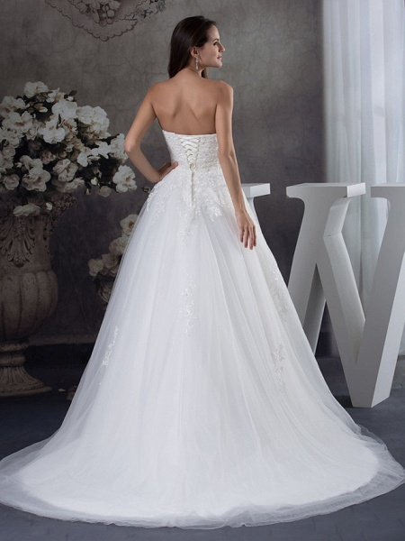 A-Line Sweetheart Neckline Court Train Lace Tulle Strapless Wedding Dresses_3