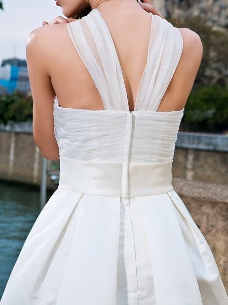 Ball Gown A-Line Wedding Dresses V Neck Knee Length Organza Satin Sleeveless Little White Dress_8
