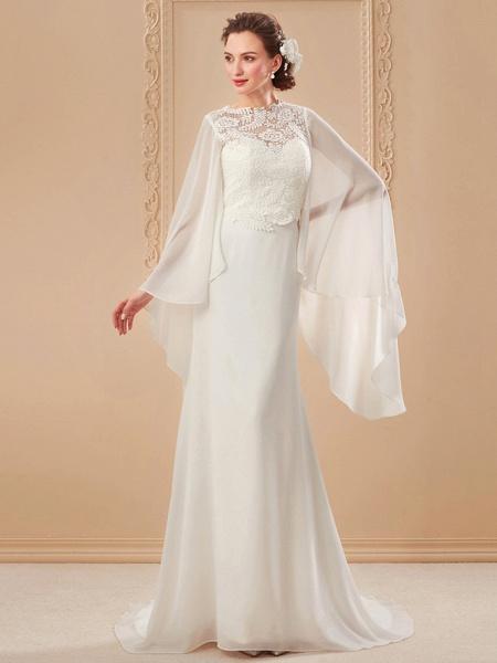 Sheath \ Column Wedding Dresses Jewel Neck Sweep \ Brush Train Lace Georgette Long Sleeve Beach Illusion Detail Backless_11