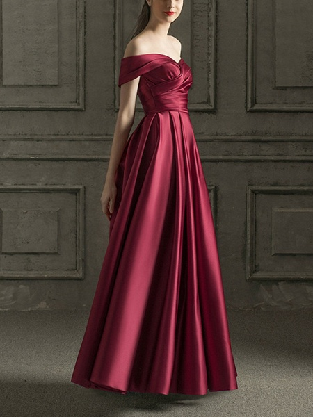 A-Line Wedding Dresses Off Shoulder Floor Length Satin Short Sleeve Beach Wedding Dress in Color_1