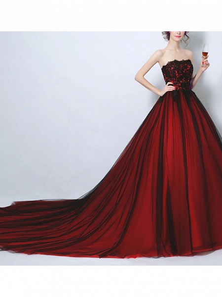 Ball Gown Wedding Dresses Strapless Court Train Tulle Strapless Romantic Plus Size Red_2