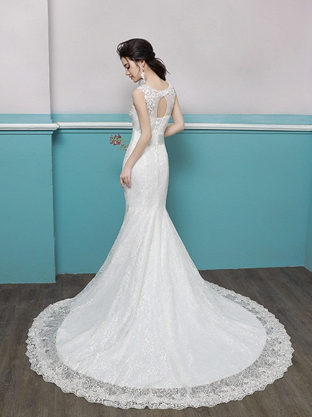 Mermaid \ Trumpet Wedding Dresses Scoop Neck Sweep \ Brush Train Lace Tulle Polyester Sleeveless Romantic Glamorous Sexy_3