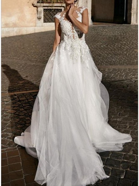 A-Line Wedding Dresses V Neck Court Train Lace Tulle Cap Sleeve Boho_1