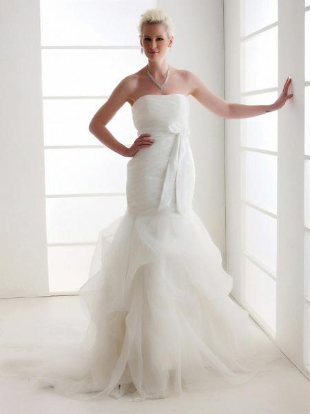 Mermaid \ Trumpet Wedding Dresses Strapless Court Train Organza Satin Sleeveless_1