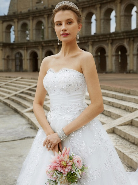 Ball Gown Wedding Dresses Strapless Sweep \ Brush Train Tulle Glitter Lace Strapless Country Sparkle & Shine Backless_7