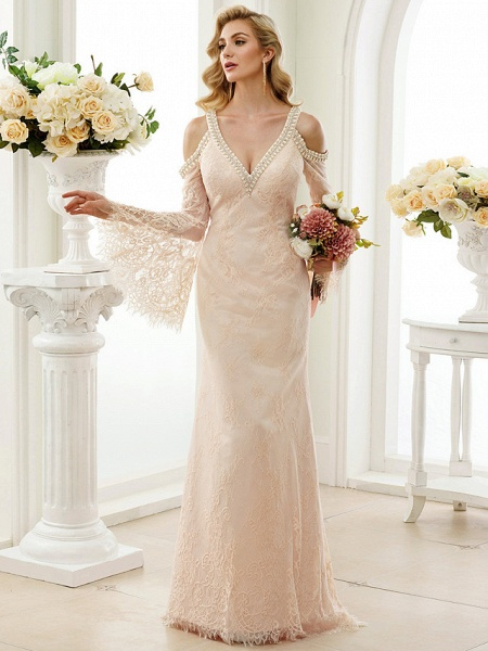 Sheath \ Column Wedding Dresses Plunging Neck Sweep \ Brush Train Sheer Lace Long Sleeve Wedding Dress in Color Open Back Floral Lace_5