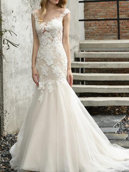 Mermaid \ Trumpet Wedding Dresses V Neck Sweep \ Brush Train Lace Tulle Sleeveless Formal Illusion Detail_2