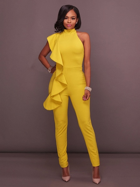 Women's Basic Halter Neck Yellow Royal Blue White Jumpsuit