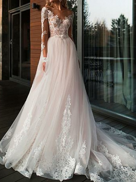 A-Line V Neck Court Train Tulle Long Sleeve Romantic Boho See-Through Illusion Sleeve Wedding Dresses_1