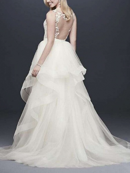 A-Line V Neck Floor Length Tulle Sleeveless Casual Plus Size Wedding Dresses_3