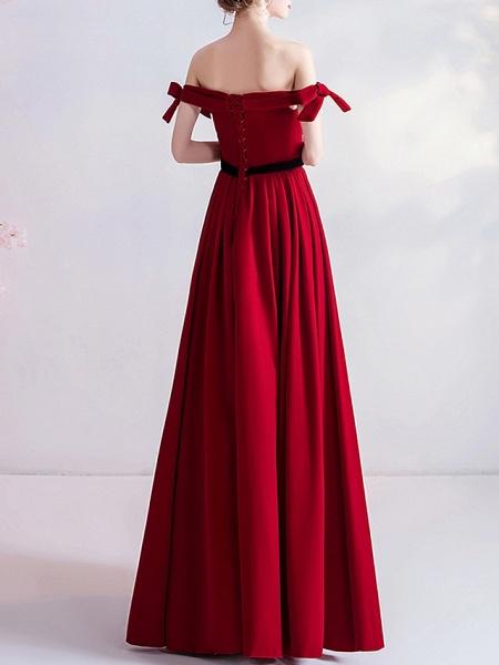 A-Line Wedding Dresses Off Shoulder Floor Length Satin Cap Sleeve Romantic Plus Size Red_3
