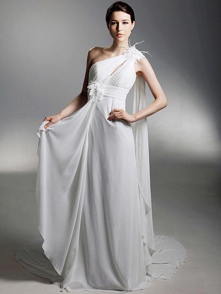 Sheath \ Column Wedding Dresses One Shoulder Watteau Train Chiffon Sleeveless_1