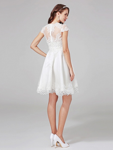 A-Line Wedding Dresses V Neck Knee Length Lace Over Tulle Cap Sleeve Formal Casual Illusion Detail Backless_2