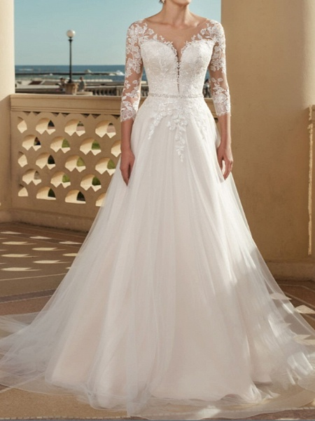 A-Line Wedding Dresses V Neck Sweep \ Brush Train Lace Tulle 3\4 Length Sleeve Country Plus Size_1
