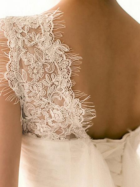 Mermaid \ Trumpet Wedding Dresses Bateau Neck Court Train Lace Tulle Cap Sleeve Plus Size_5