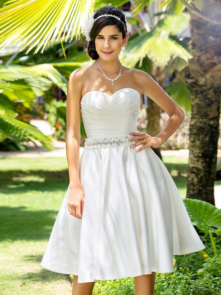 A-Line Wedding Dresses Sweetheart Neckline Knee Length Satin Strapless Country Beach Little White Dress Plus Size_5