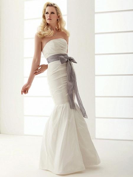 Mermaid \ Trumpet Wedding Dresses Strapless Floor Length Taffeta Sleeveless Wedding Dress in Color_7