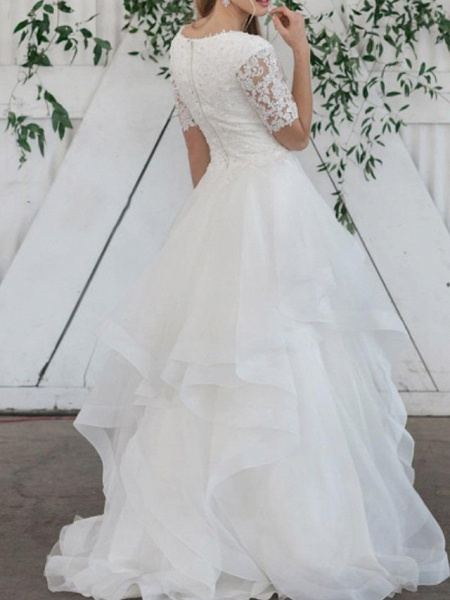 Ball Gown Wedding Dresses Jewel Neck Sweep \ Brush Train Lace Organza Short Sleeve Vintage_2