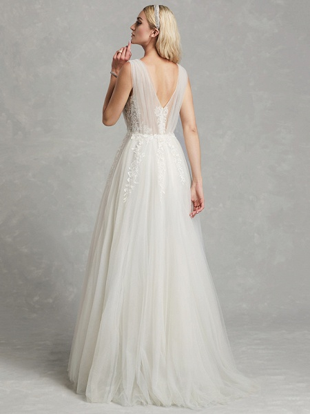 A-Line Wedding Dresses V Neck Floor Length Lace Tulle Regular Straps Romantic Plus Size Illusion Sleeve_2