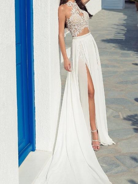 A-Line Wedding Dresses Halter Neck Court Train Lace Chiffon Over Satin Sleeveless Beach Boho Sexy See-Through_2