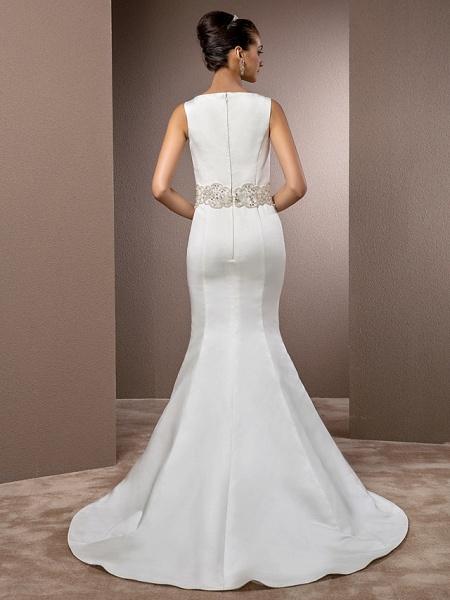 Mermaid \ Trumpet Wedding Dresses Bateau Neck Cathedral Train Satin Regular Straps Vintage Inspired_9