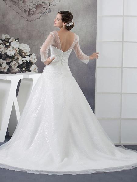 Ball Gown Wedding Dresses V Neck Chapel Train Organza Satin Long Sleeve Illusion Sleeve_3