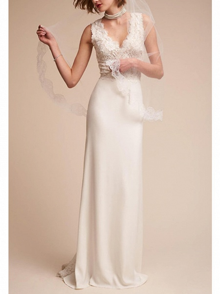 A-Line Wedding Dresses V Neck Sweep \ Brush Train Tulle Regular Straps_1