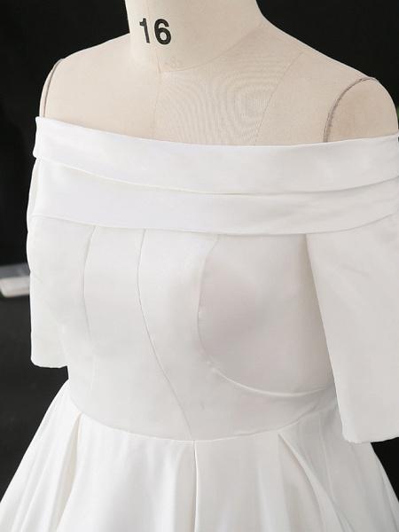 A-Line Wedding Dresses Off Shoulder Court Train Satin Half Sleeve Simple Elegant_5