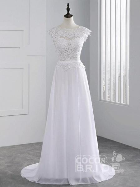 Cheap Jewel Backless Lace A-Line Wedding Dresses_1