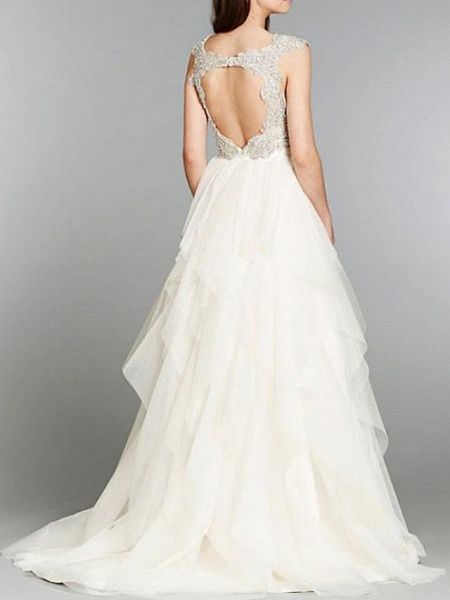 A-Line Wedding Dresses V Neck Sweep \ Brush Train Tulle Chiffon Over Satin Cap Sleeve Sexy Backless_2