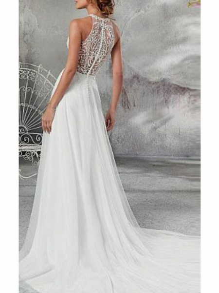 A-Line Wedding Dresses High Neck Court Train Chiffon Tulle Regular Straps_2